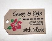 Kraft - With Love - Hawaiian/Tropical Flower Personalized Wedding favor tags - Gift Tags - Set of 40 - Custom Printed & Die Cut
