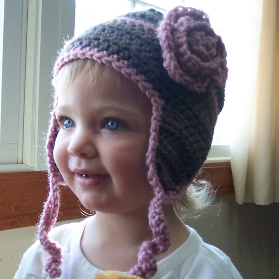 Girls Earflap Hat. Little Girl's Crochet Hat, Light Brown and Pink Earflap Hat with Flower, Size 1-4T. Ready to Ship