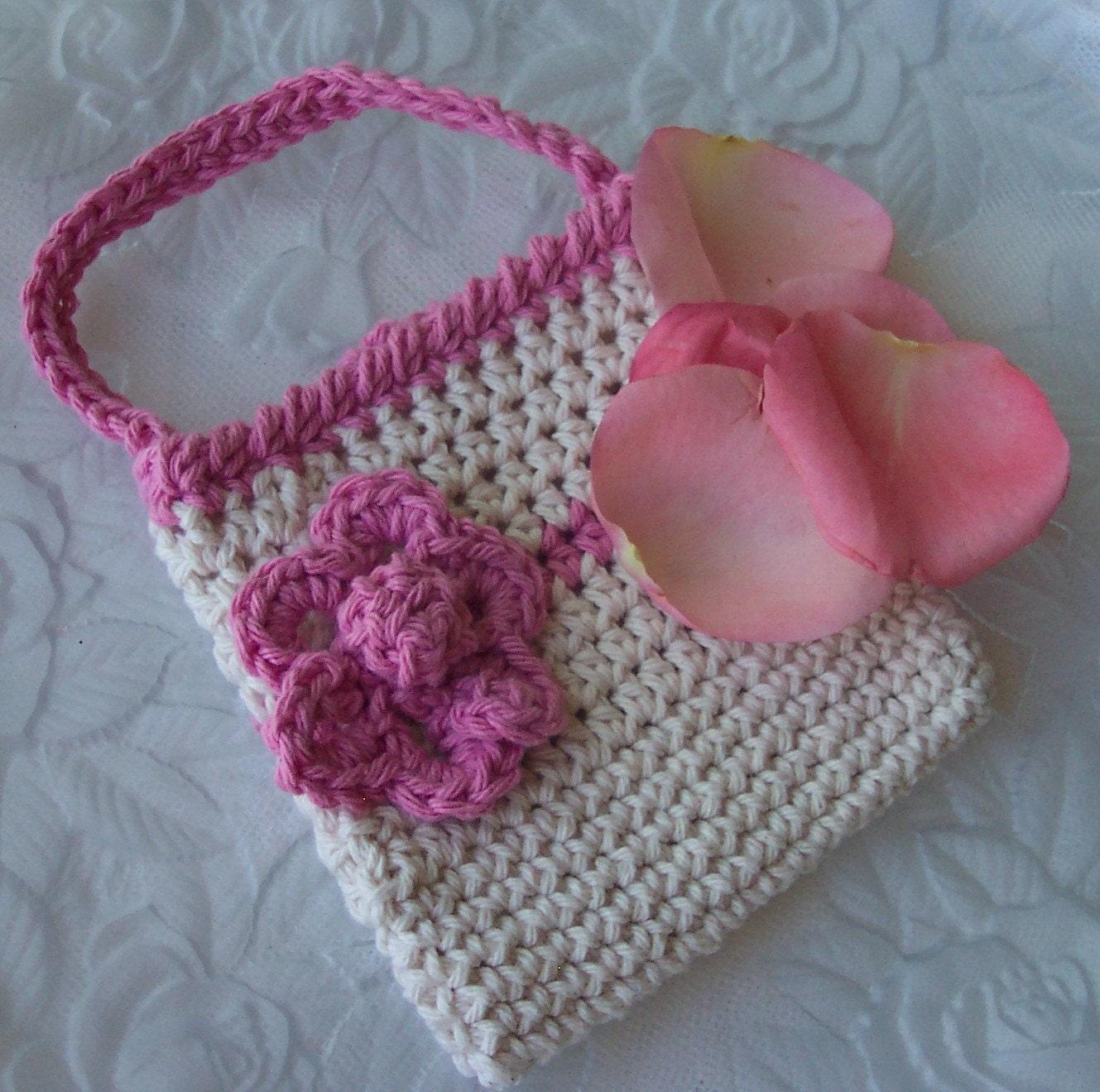 similar to Little Girls Purse with Flower. Crochet Purse, Cotton Purse ...
