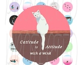 Cat Lovers1 inch Bottle Cap Circle Digital Collage Sheet, Original Graphics, PDF and JPG, Fits US and A4 International paper