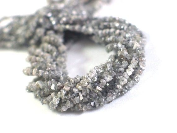 Rough DIAMOND Chips - 16 Inch Strand - Steely Gray