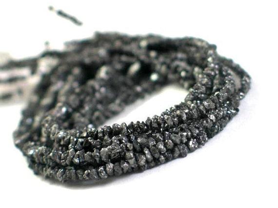 Rough DIAMOND Chips - 16 Inch Strand - Black PLUS  - 2 Strands Iris Rice Pearls, 2 Strands Silver Cross Pearls