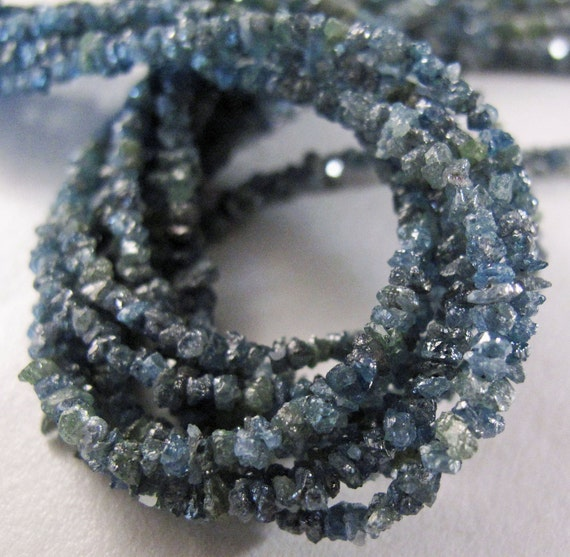 Reserved -  Special Add SS Clasp and Jump - Rough DIAMOND chips - 8 Inch Half Strand - Blue -  8-9tcw 2-3mm - ADD Express Shipping