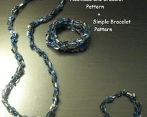 Crocheted 2-Way Long Necklace & Bracelet, plus Simple Bracelet PATTERN