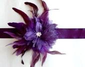 Dark Purple Feather Flower Bridal Belt Sash - Plum Satin Ribbon - Silver Rhinestone Center