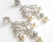Rhinestone Chandelier Earrings - Silver Crystal - Ivory or White Pearl