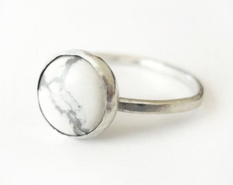 Round White Turquoise Ring - Sterling Silver - 10mm - Silver and White Ring - White and Gray Stone Ring