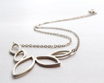 Petal Necklace - Matte Silver - Sterling Silver Chain - Silver Floral Necklace - Bridesmaid Necklace - Simple Silver Necklace