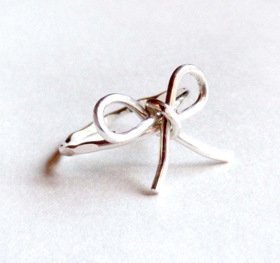 RESERVED 2 Forget Me Knot Rings - Sterling Silver and Gold Fill - Hammered