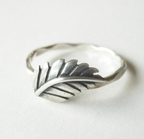 Fern Leaf Stacker Ring - Sterling Silver