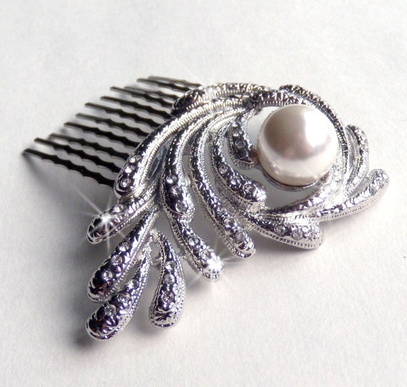 Pearl and Rhinestone Encrusted Hair Comb - Vintage Style Hair Piece