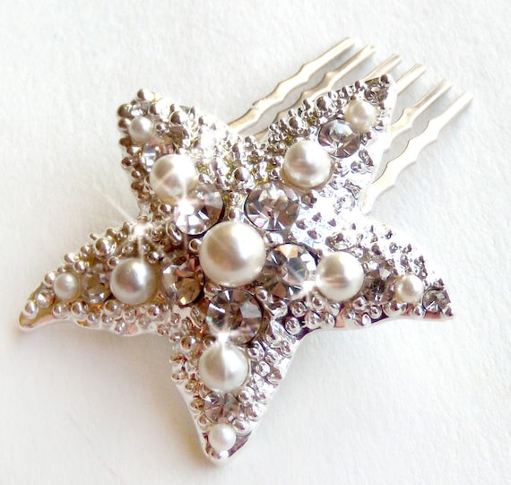 RESERVED Starfish Comb - Pearl and Rhinestones  - Vintage Style Brooch - Silver - Beach Wedding