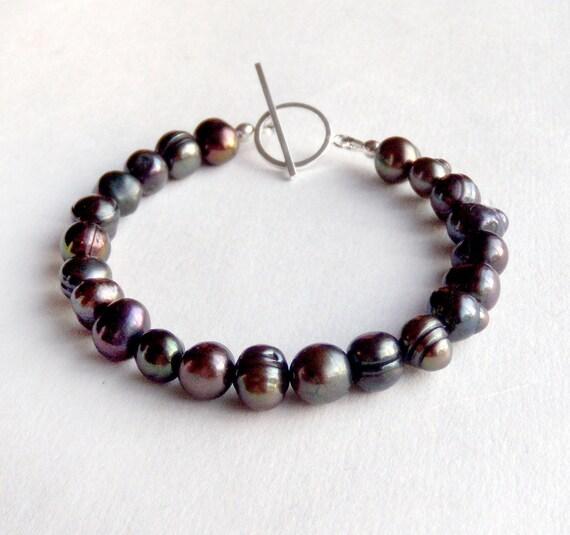 Black Pearl Bracelet - Sterling Silver Toggle - Freshwater Peacock Pearls