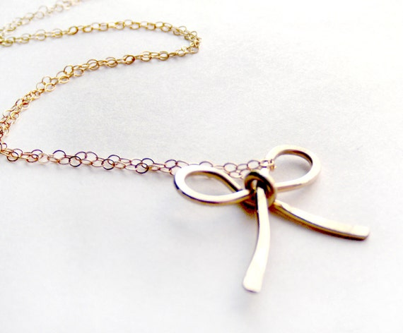 RESERVED Forget Me Knot Bow Necklace x 4 - 14K Goldfill - Hammered Wire