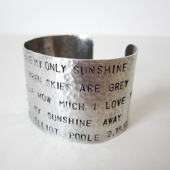 "2"" Hammered Cuff - Custom Stamped Cuff Bracelet - Pick your phrase, word, date, childrens names, poem, quote"