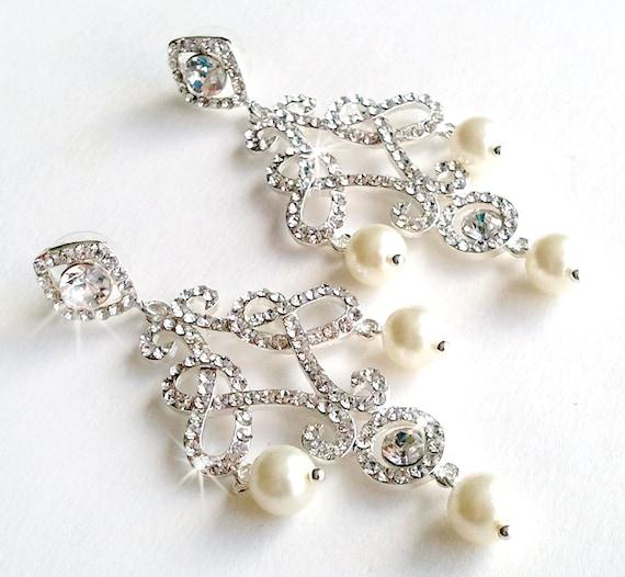 Rhinestone Chandelier Earrings - Silver Crystal - Ivory or White Pearl