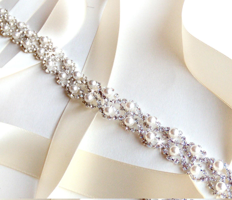 pearl weave bridal belt sash custom ribbon white