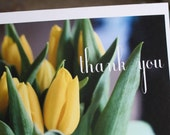 Yellow Tulips Thank You single card on recycled paper