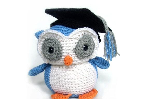 Graduation Owl: Custom Crochet Stuffed owl OOAK