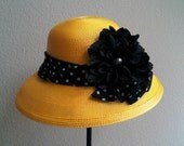 Daring Dahlia/ Kentucky Derby style large brim hat in bright yellow and black