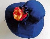 RESERVED for KARINA / womens sun hat, navy blue hat, wide brim cotton hat, removable flower pin brooch, Seaside Savvy