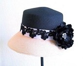 womens cloche hat, black straw hat with flower, spring summer sun hat  for dress or casual 'Una Bellezza Classica'