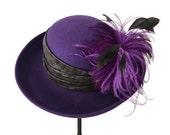 womens hat, wool cloche, purple hat, womens wool hat, felt hat with feathers, Easter hat, Kentucky Derby style hat, 'Purple Plumes'
