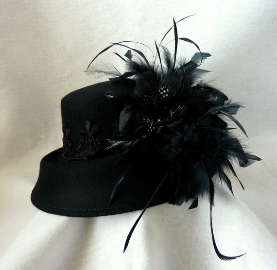 womens hat, black felt hats, wool wide brim,  wool hat, wool felt hat with flower, Feather Plumes and Black Venice Lace...