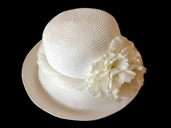 "Sun Hat, Summer Hat, Derby Hat, White Straw Hat, Large Size  Adjustable Fit, Easter Hat, Church Hat - ""BIANCO SU BIANCO"""