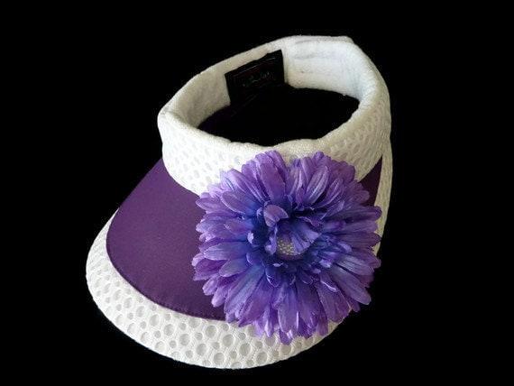"Womens Golf Visor, Sun Visor, Ladies Sport Visor, Adjustable Size, Removable Terry Cloth Headband, in Purple and White  - ""VIVACIOUS VISOR"""