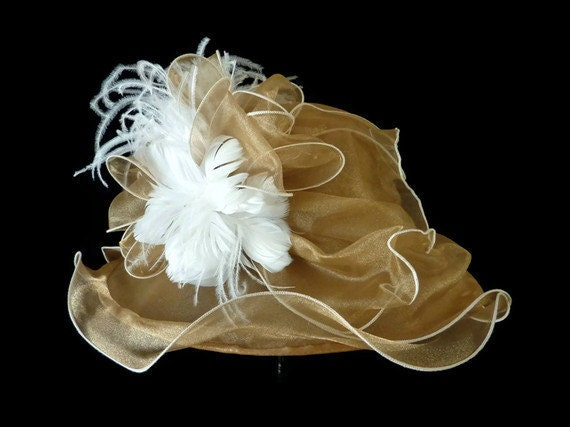 """Kentucky Derby Hat, Summer Hat, Easter Hat, Church Hat, Adjustable Size Organza Hat in Golden Champagne and White - """"CHAMPAGNE WISHES"""""""