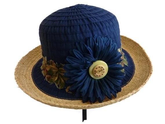 "Womens Sun Hat, Straw Hat, Summer Hat, Beach Hat in Navy is Lightweight and Comfortable -  ""Summer Treasure"""