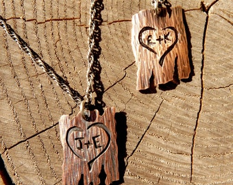 Carved Bark Heart with Initials Pendant