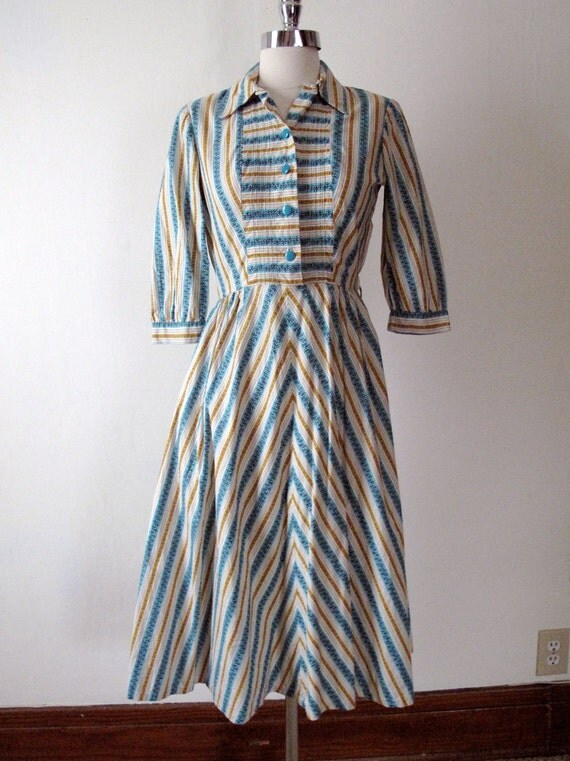 1940s Striped Day Dress - Blue and Gold - 40s Dress