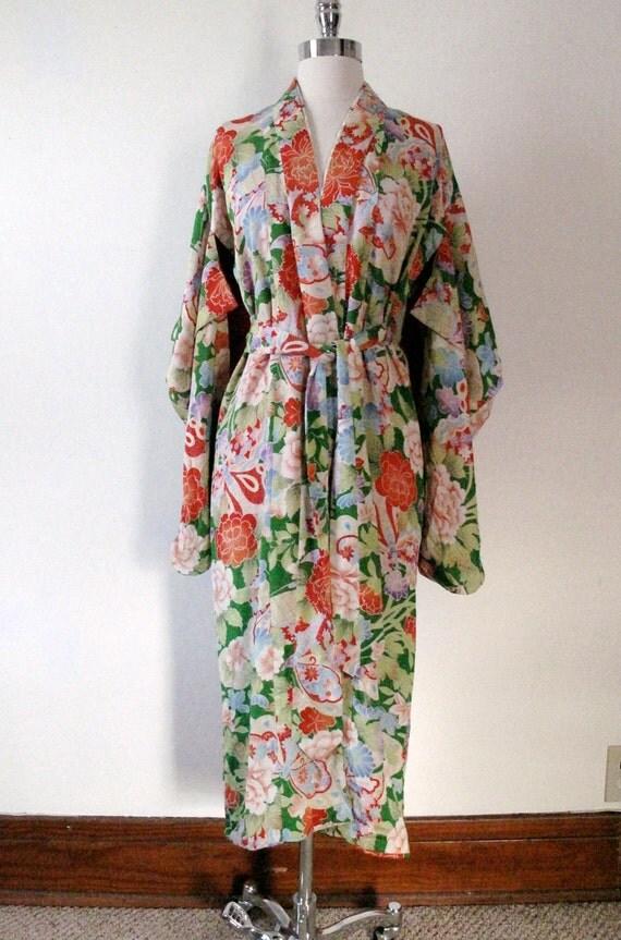 Vintage Vibrant Kimono - Greens and Reds