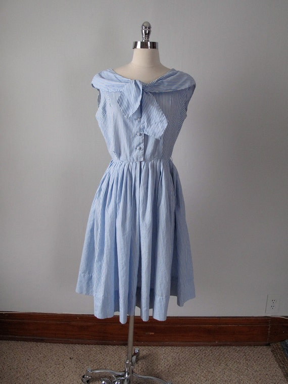 1950s Dress - Blue and White Stripes - Sailor Collar