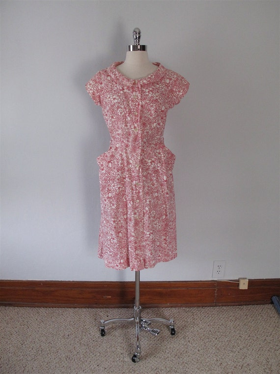 1940s Dress - Red Floral Cotton Print - 40s Dress