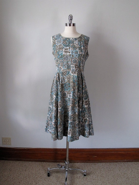 1940s Dress - Cotton Print - Blue and Green