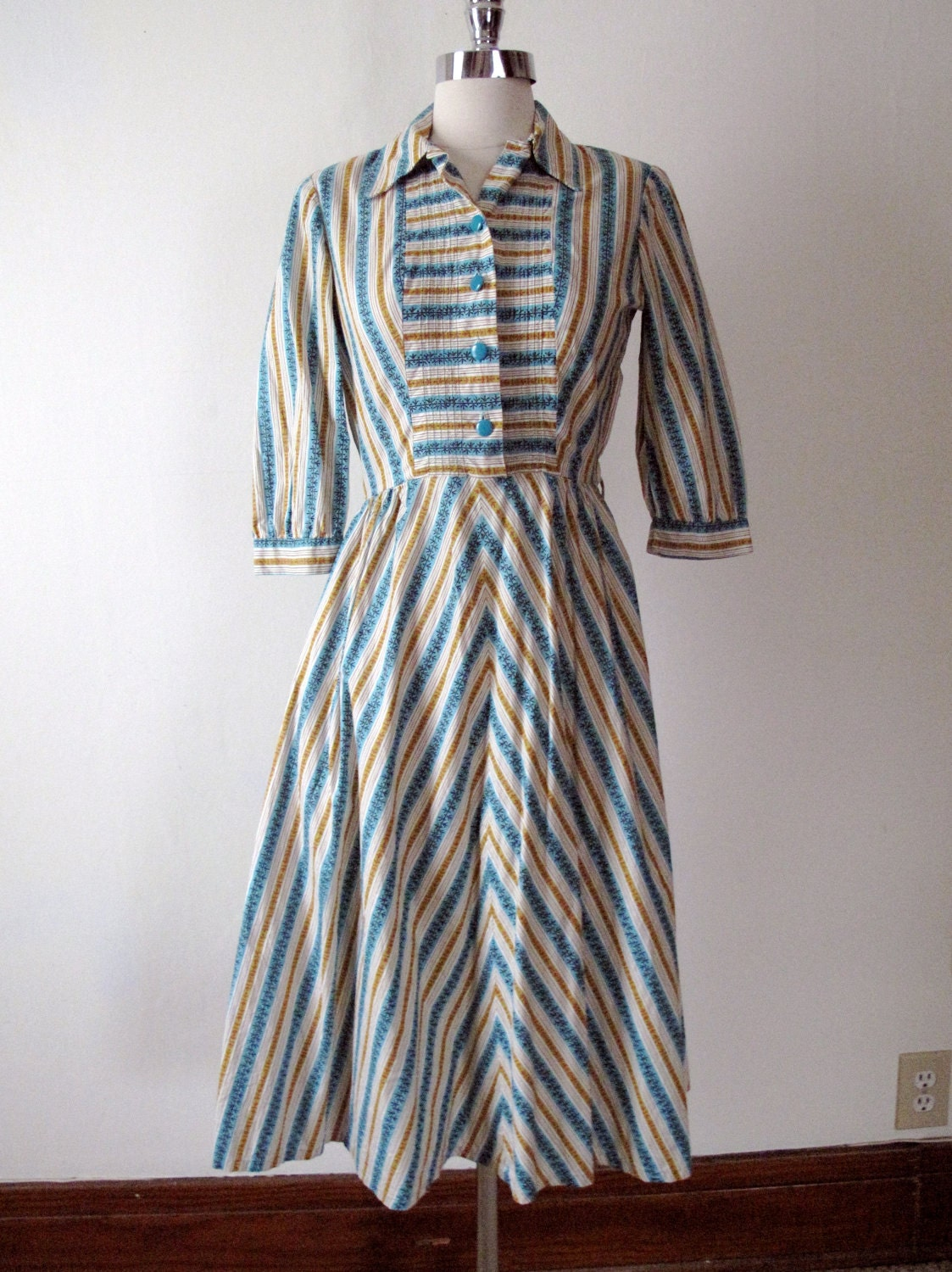 1940s Day Wear: 1940s Striped Day Dress Blue And Gold 40s Dress By