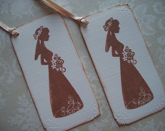 Bridal shower favor tags, vintage bride, hand stamped, vintage style, vintage inspired, bride silhouette - Set of 6