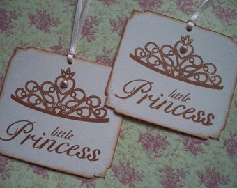 Princess Crown party favor or gift tags, hand stamped, vintage style, baby shower, birthday party, little princess, pink pearl  - Set of 6