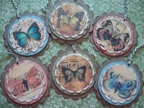 ON SALE Gift Tags - Set of 6 Musical Butterflies