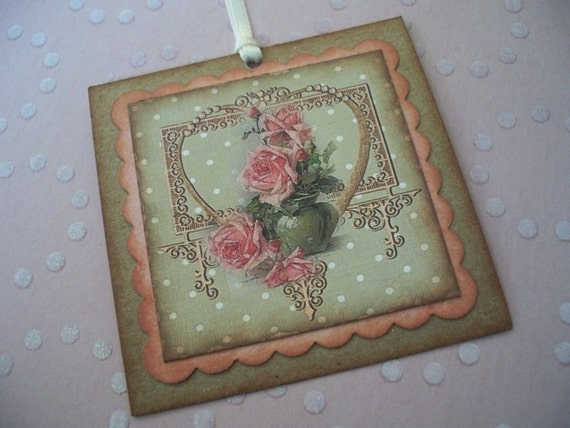 Shabby chic gift tags vintage style Pink roses wedding favor tags shower tags - set of 6