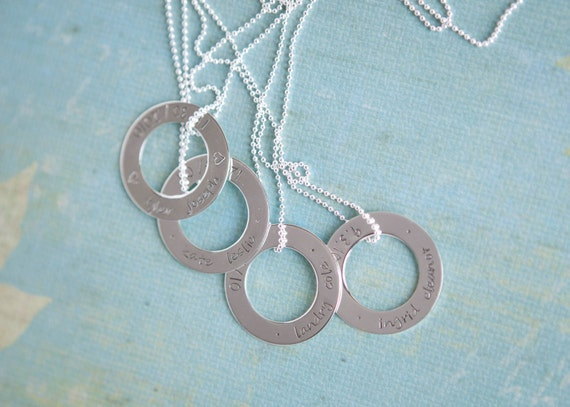 hand stamped washer necklace with sterling chain