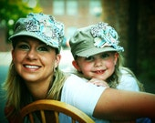 SALE.....LIMITED TIME....Mommy and Me Look Alike.... ..Distressed Khaki, Frayed Flower Military Style Hats    Both for Thirty Five Dollars