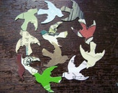 doves - flight - bird - upcycled punchouts