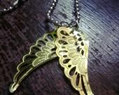 golden wings of flight - gold & silver repurposed ooak necklace