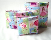 Reusable Sandwich Lunch Bag - Reusable Snack Bag - Set of 3 Reusable Bags - Fairy Tale Princess and her Frog