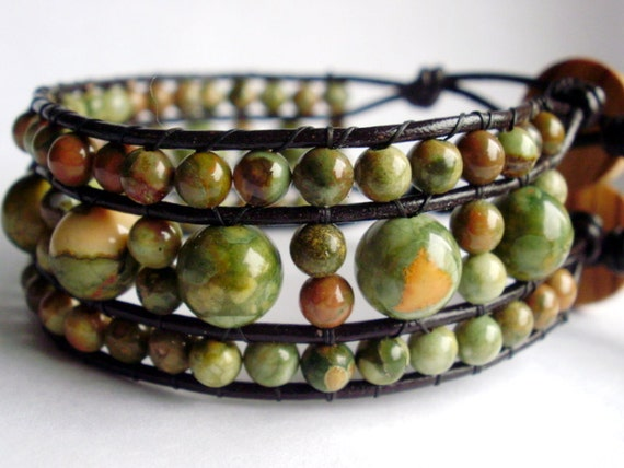 beaded leather wrap bracelet or cuff  - Rhyolite stone with button closure -This was seen on the front page