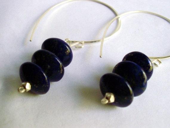 Sterling silver hoop earrings - Blue Lapis lazuli stone